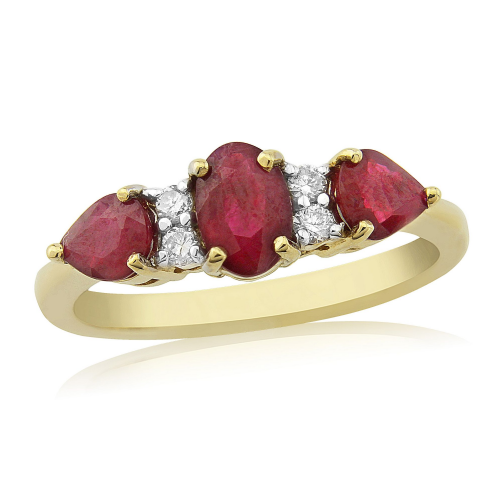 9 Carat Yellow Gold Ruby And Diamond Multi Stone Ring
